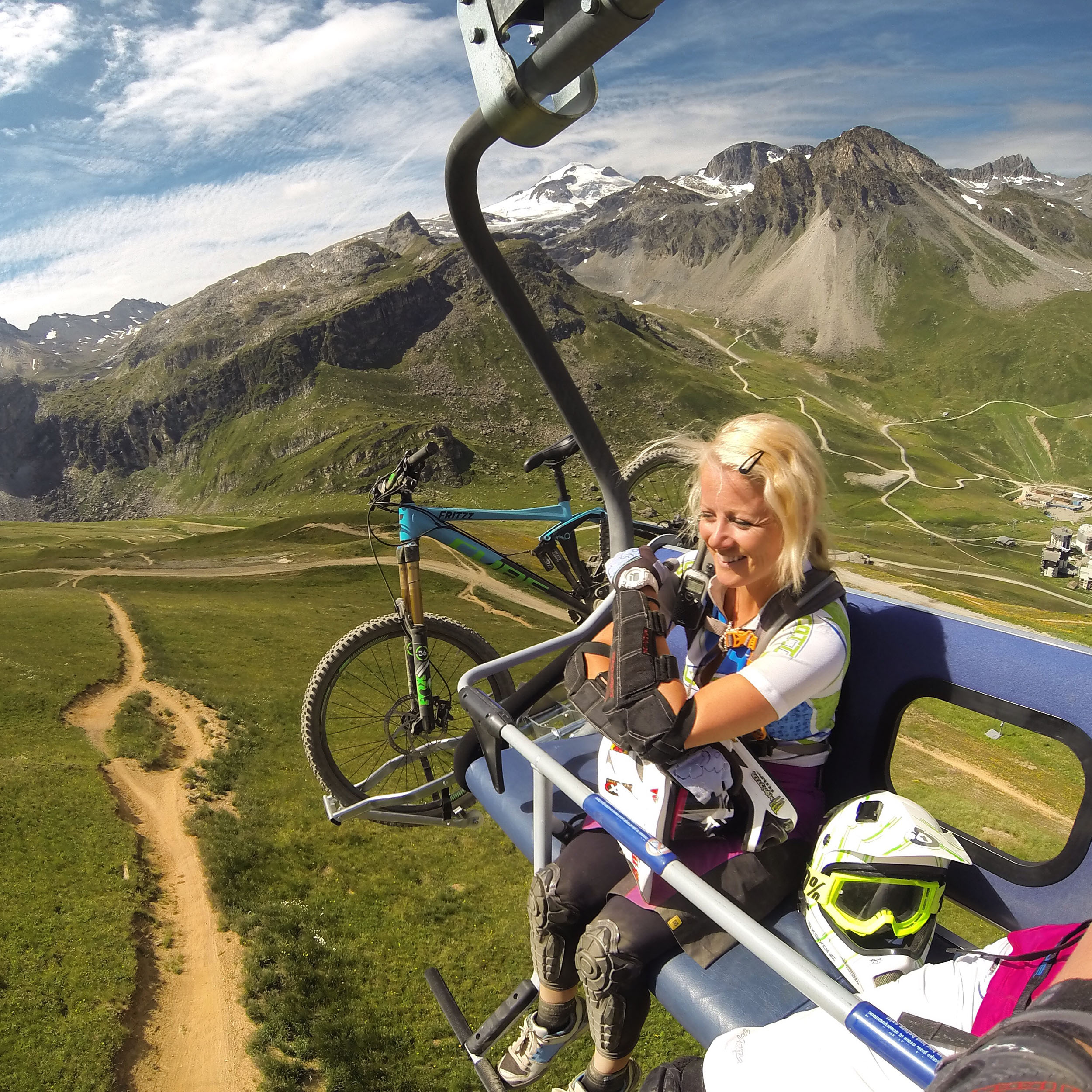 Biking In Tignes Alps Chair lifts